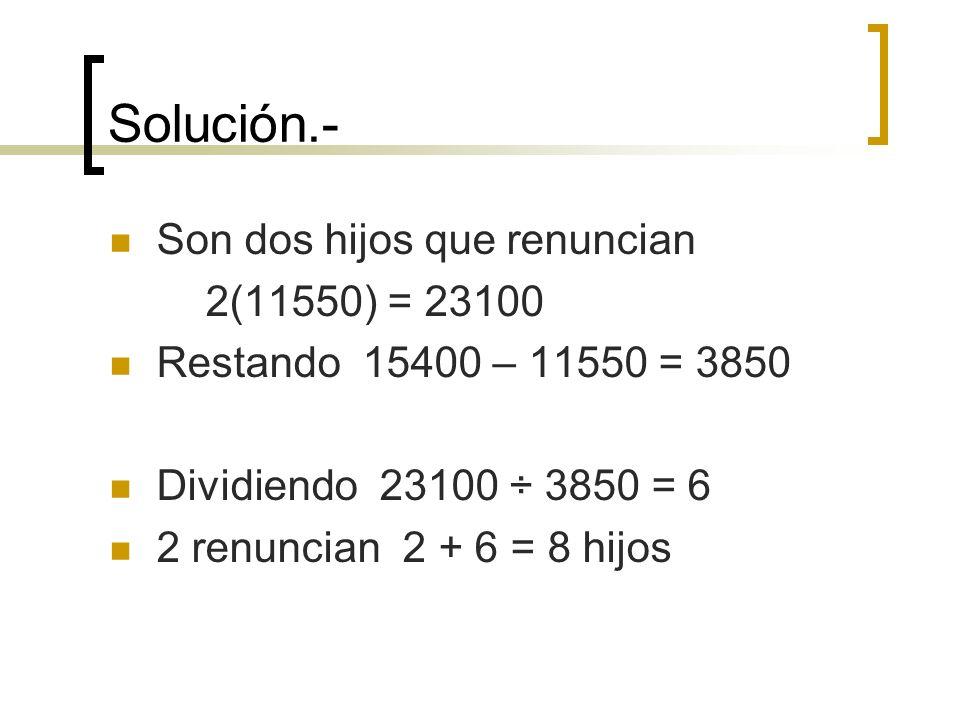 Solución.- Son dos hijos que renuncian 2(11550) = 23100