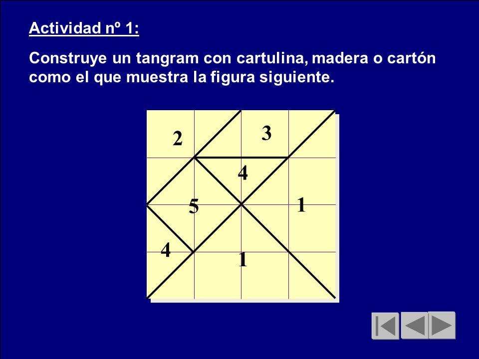 Actividad nº 1: Construye un tangram con cartulina, madera o cartón como el que muestra la figura siguiente.