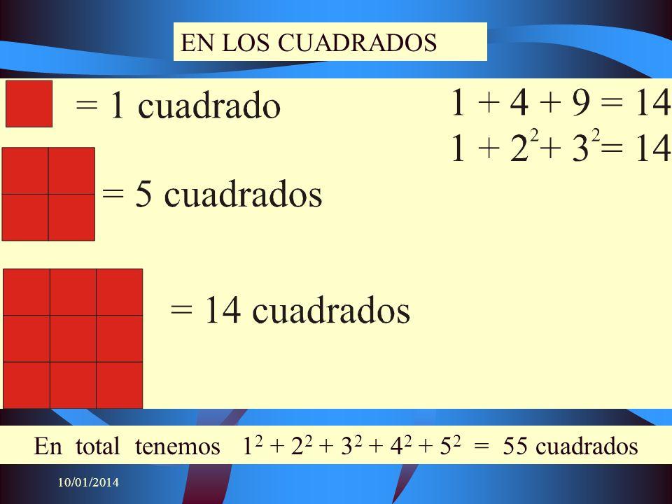 En total tenemos 12 + 22 + 32 + 42 + 52 = 55 cuadrados
