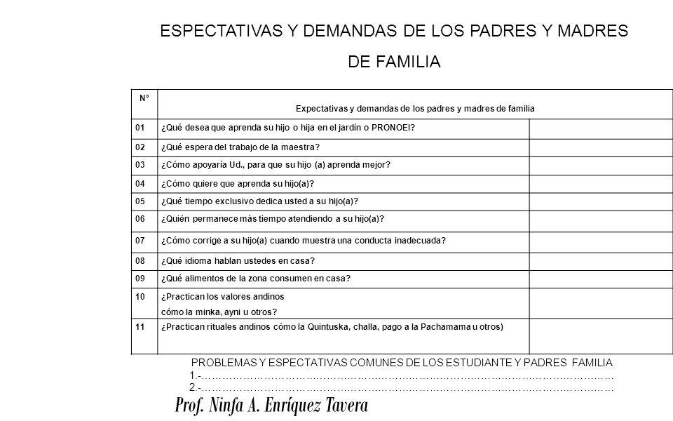 Expectativas y demandas de los padres y madres de familia