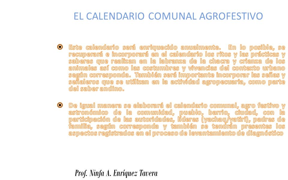 EL CALENDARIO COMUNAL AGROFESTIVO