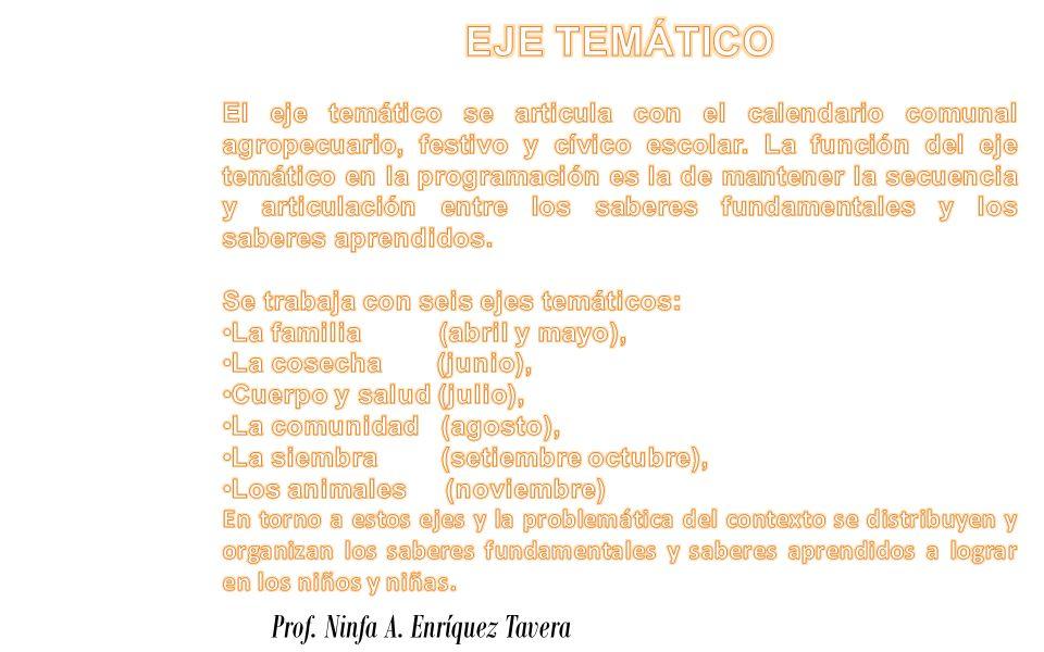 EJE TEMÁTICO Prof. Ninfa A. Enríquez Tavera