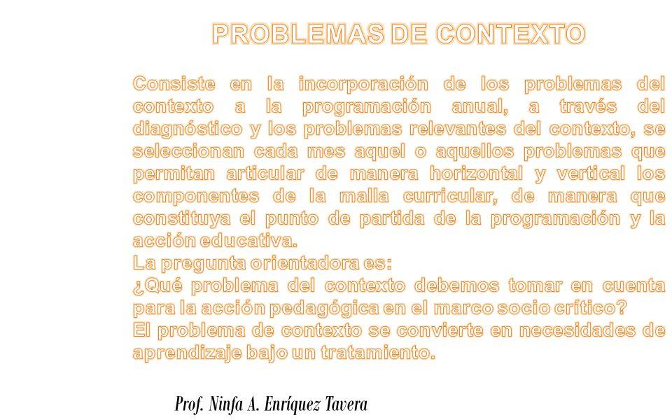 PROBLEMAS DE CONTEXTO Prof. Ninfa A. Enríquez Tavera
