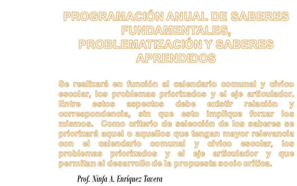 PROGRAMACIÓN ANUAL DE SABERES FUNDAMENTALES, PROBLEMATIZACIÓN Y SABERES APRENDIDOS