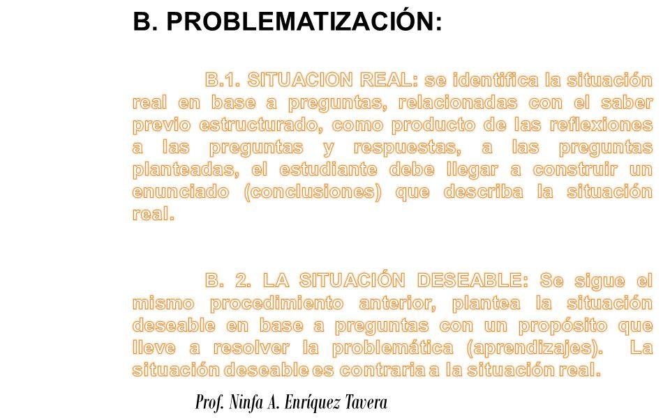 B. PROBLEMATIZACIÓN: Prof. Ninfa A. Enríquez Tavera