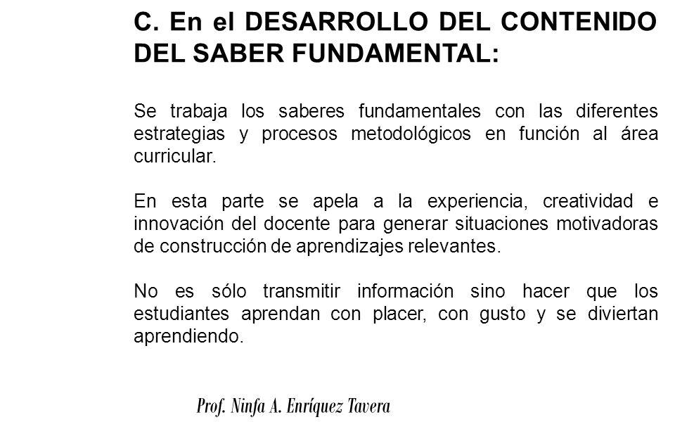 C. En el DESARROLLO DEL CONTENIDO DEL SABER FUNDAMENTAL:
