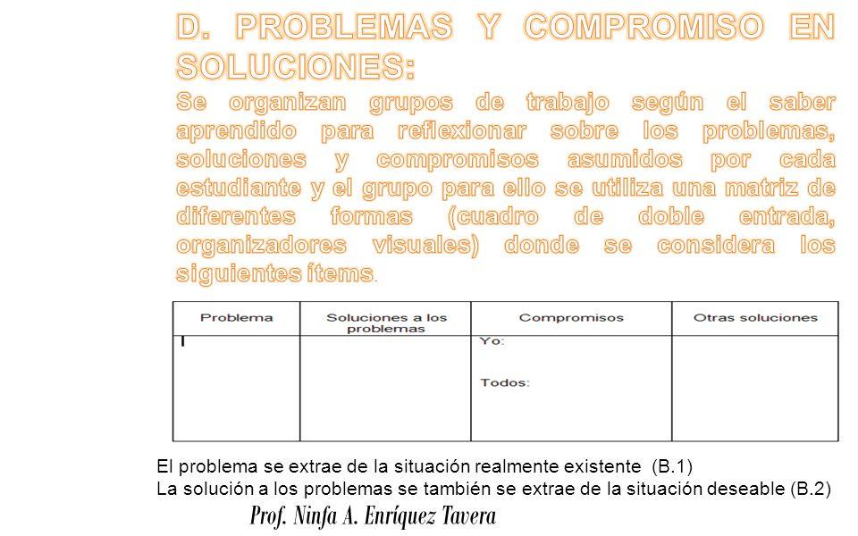 D. PROBLEMAS Y COMPROMISO EN SOLUCIONES: