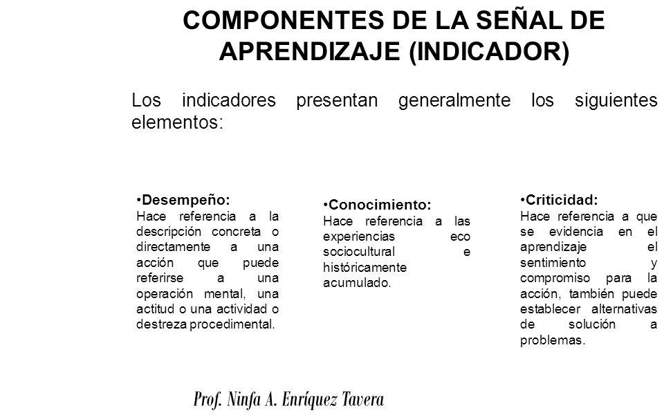 COMPONENTES DE LA SEÑAL DE APRENDIZAJE (INDICADOR)