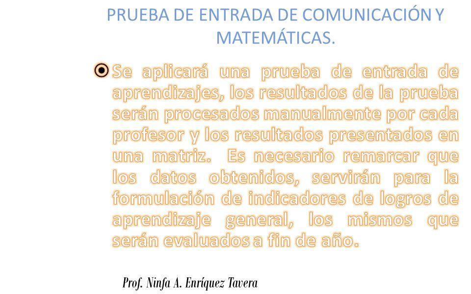 PRUEBA DE ENTRADA DE COMUNICACIÓN Y MATEMÁTICAS.