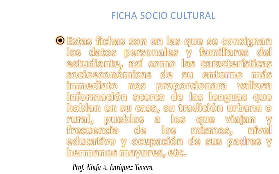 FICHA SOCIO CULTURAL