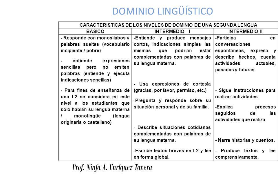 CARACTERISTICAS DE LOS NIVELES DE DOMINIO DE UNA SEGUNDA LENGUA