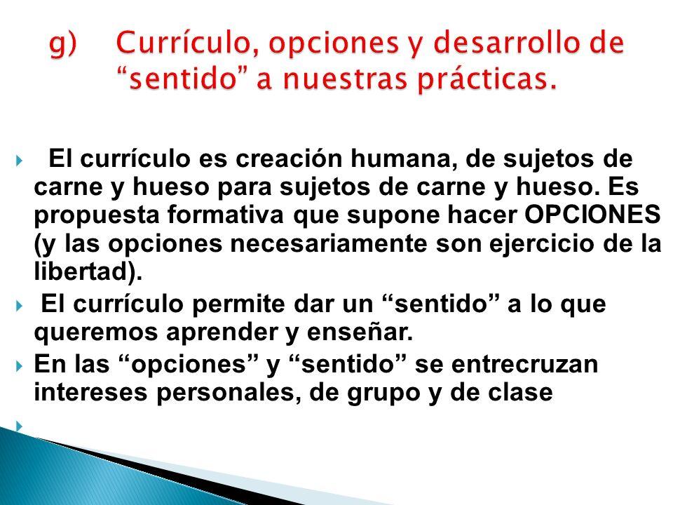 g) Currículo, opciones y desarrollo de sentido a nuestras prácticas.