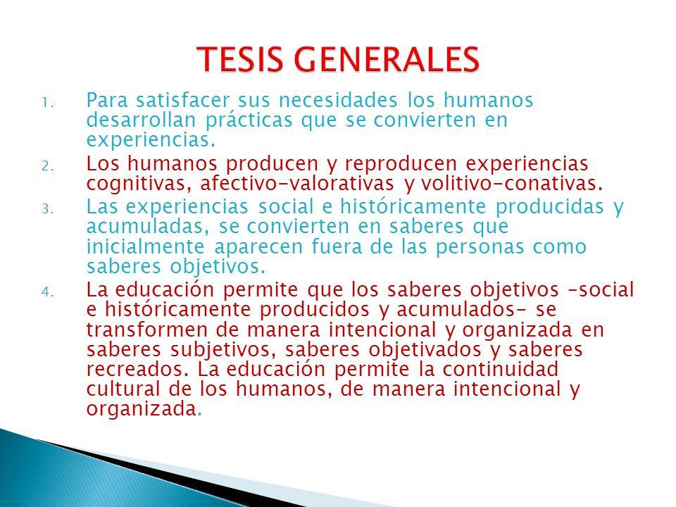 TESIS GENERALES Para satisfacer sus necesidades los humanos desarrollan prácticas que se convierten en experiencias.