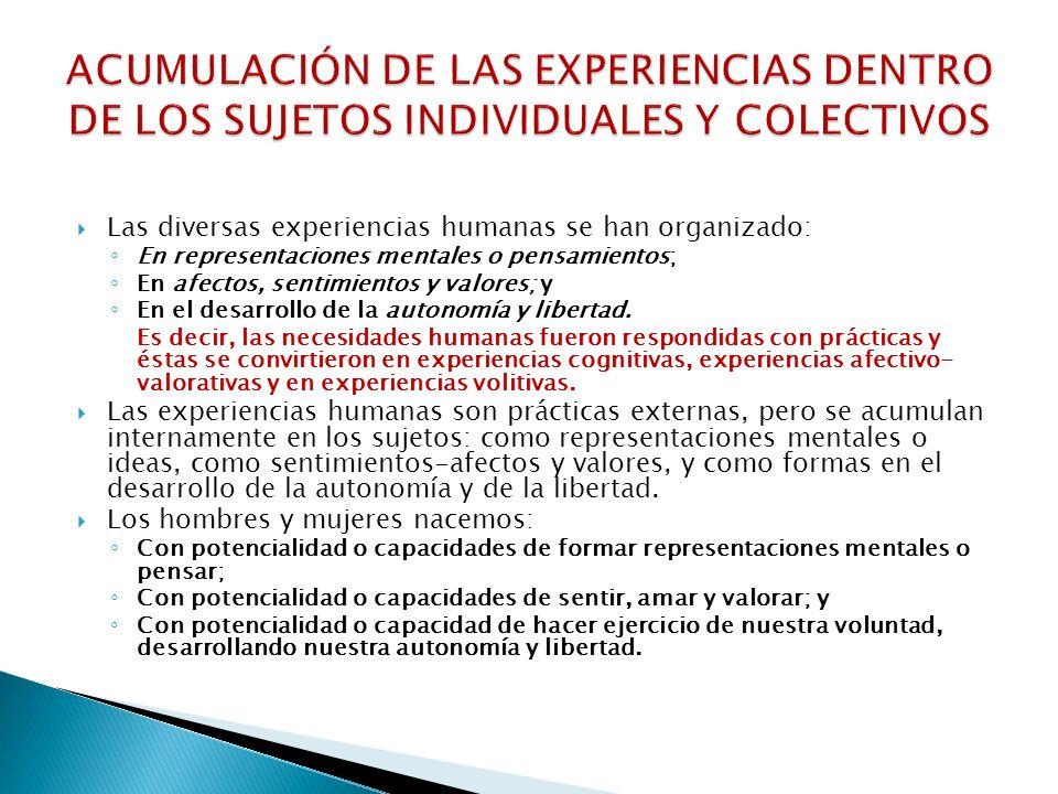ACUMULACIÓN DE LAS EXPERIENCIAS DENTRO DE LOS SUJETOS INDIVIDUALES Y COLECTIVOS