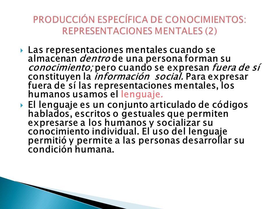 PRODUCCIÓN ESPECÍFICA DE CONOCIMIENTOS: REPRESENTACIONES MENTALES (2)