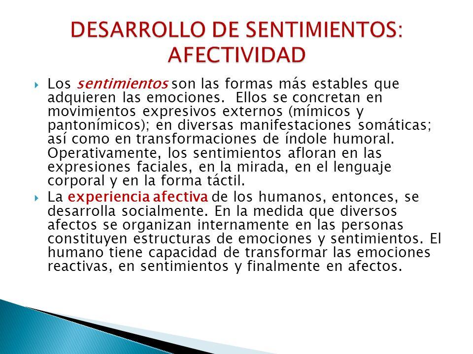 DESARROLLO DE SENTIMIENTOS: AFECTIVIDAD