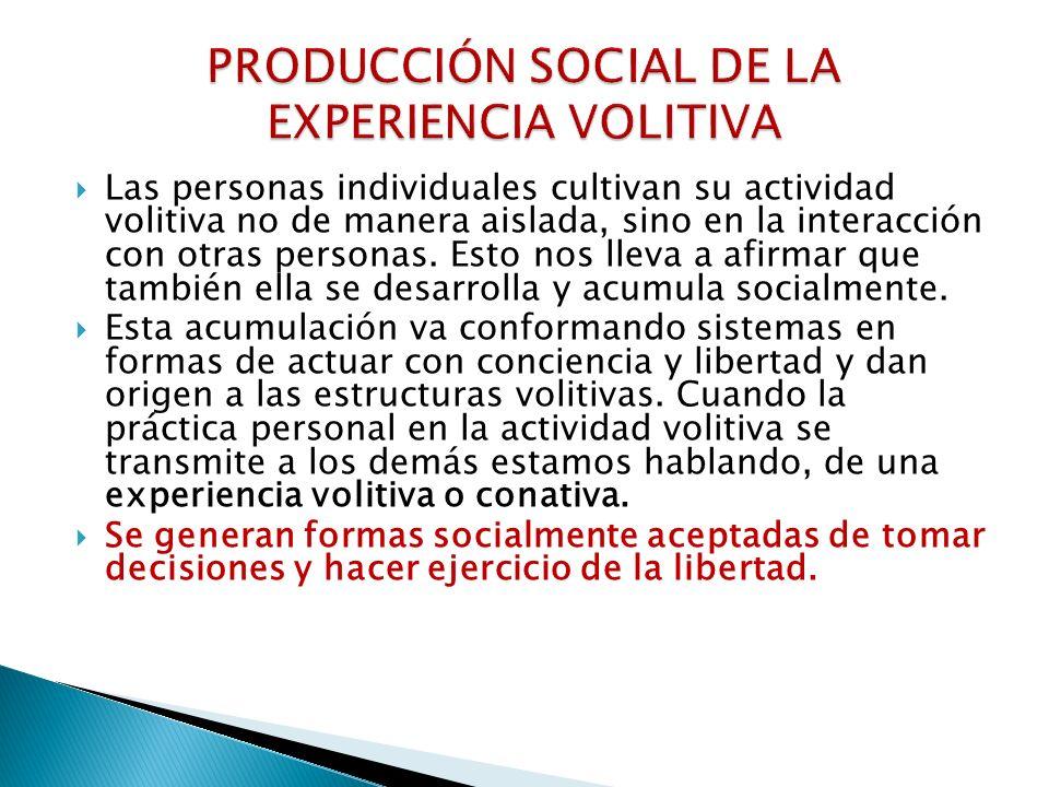 PRODUCCIÓN SOCIAL DE LA EXPERIENCIA VOLITIVA