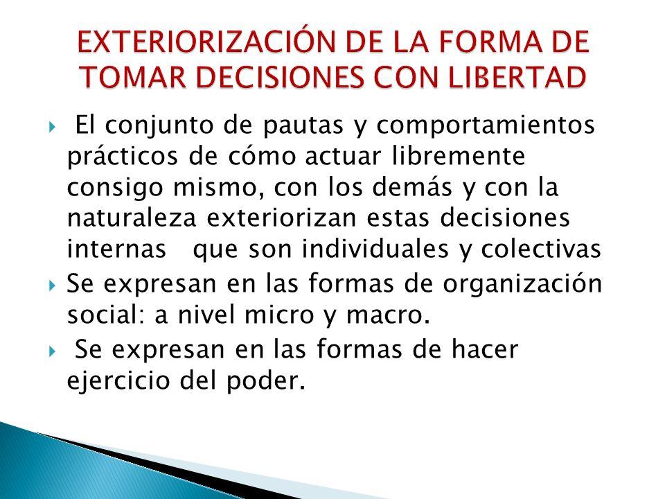 EXTERIORIZACIÓN DE LA FORMA DE TOMAR DECISIONES CON LIBERTAD