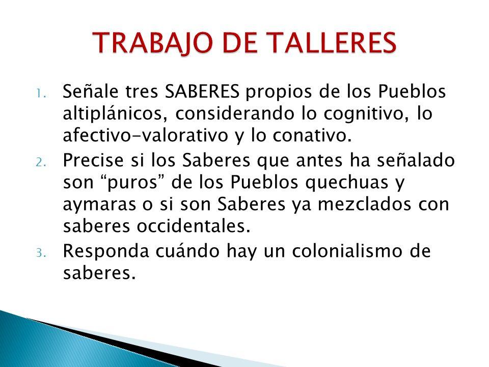 TRABAJO DE TALLERES Señale tres SABERES propios de los Pueblos altiplánicos, considerando lo cognitivo, lo afectivo-valorativo y lo conativo.