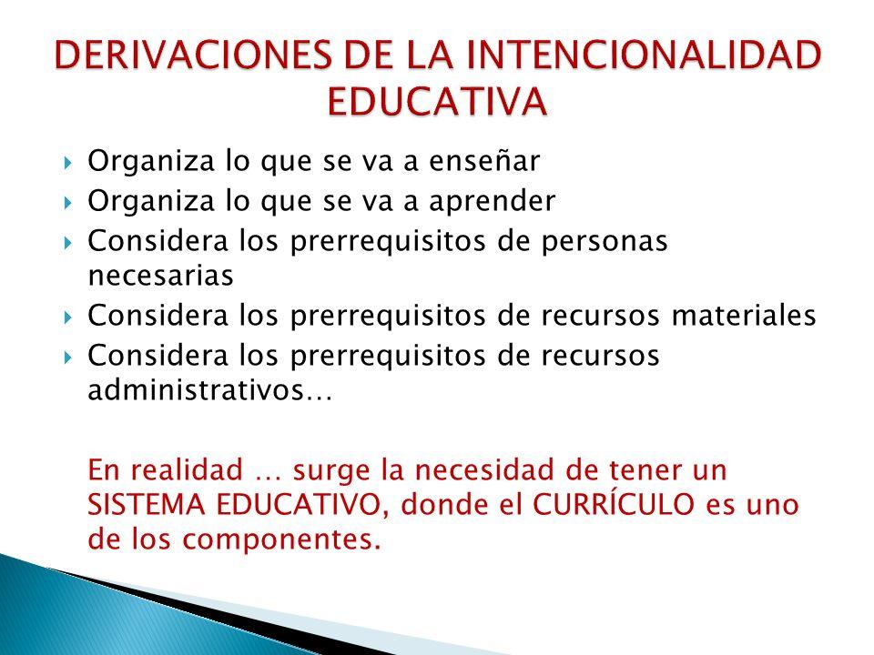 DERIVACIONES DE LA INTENCIONALIDAD EDUCATIVA