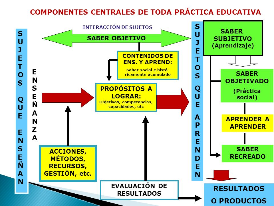 COMPONENTES CENTRALES DE TODA PRÁCTICA EDUCATIVA