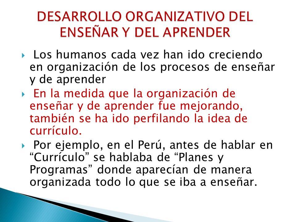 DESARROLLO ORGANIZATIVO DEL ENSEÑAR Y DEL APRENDER