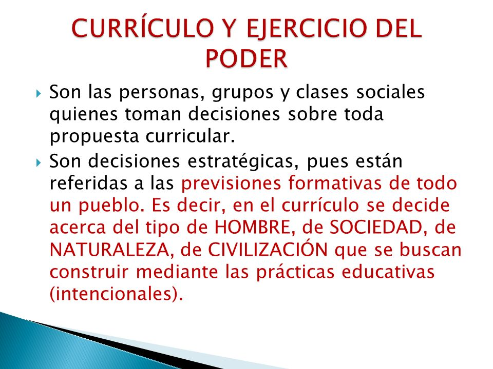 CURRÍCULO Y EJERCICIO DEL PODER