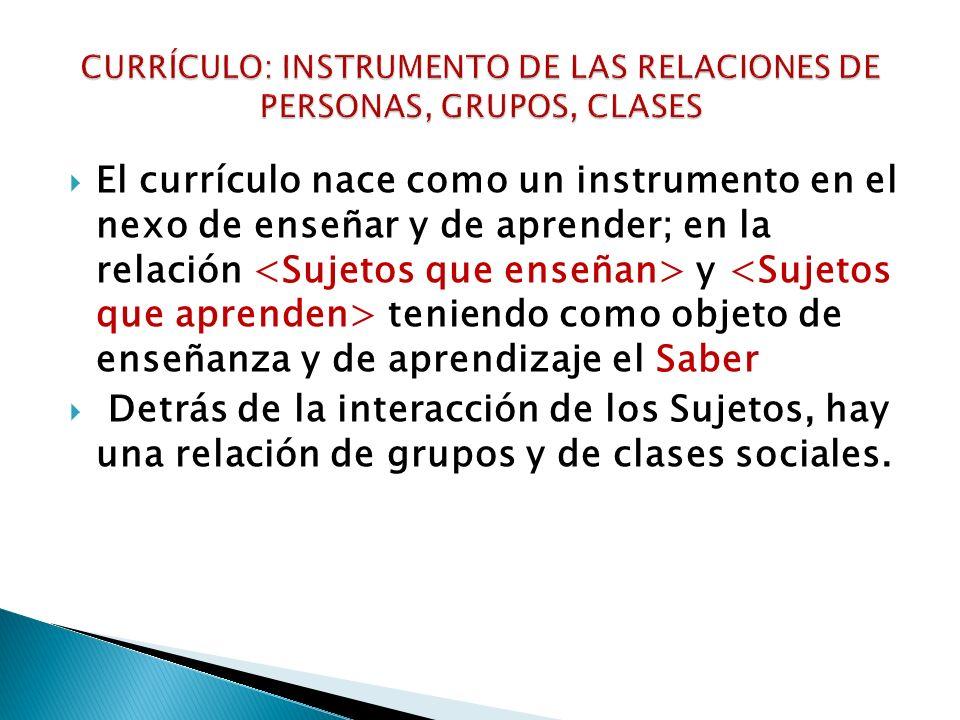 CURRÍCULO: INSTRUMENTO DE LAS RELACIONES DE PERSONAS, GRUPOS, CLASES
