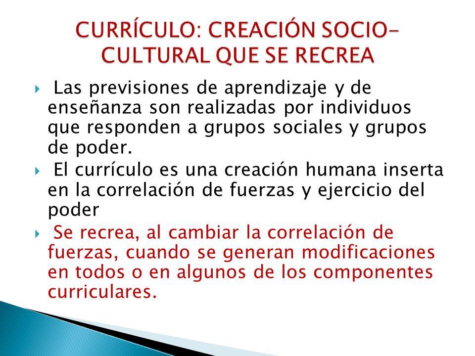 CURRÍCULO: CREACIÓN SOCIO-CULTURAL QUE SE RECREA