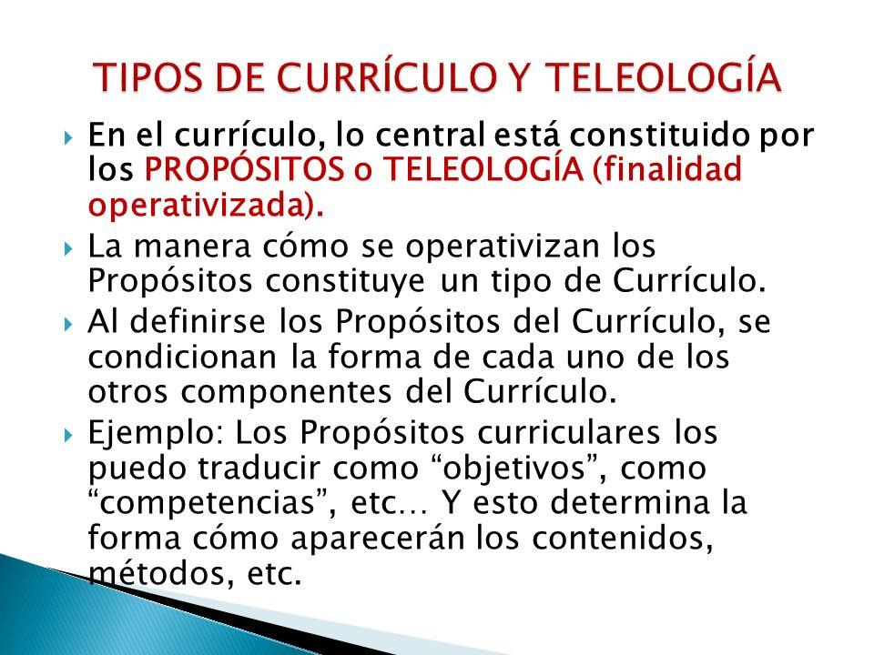 TIPOS DE CURRÍCULO Y TELEOLOGÍA