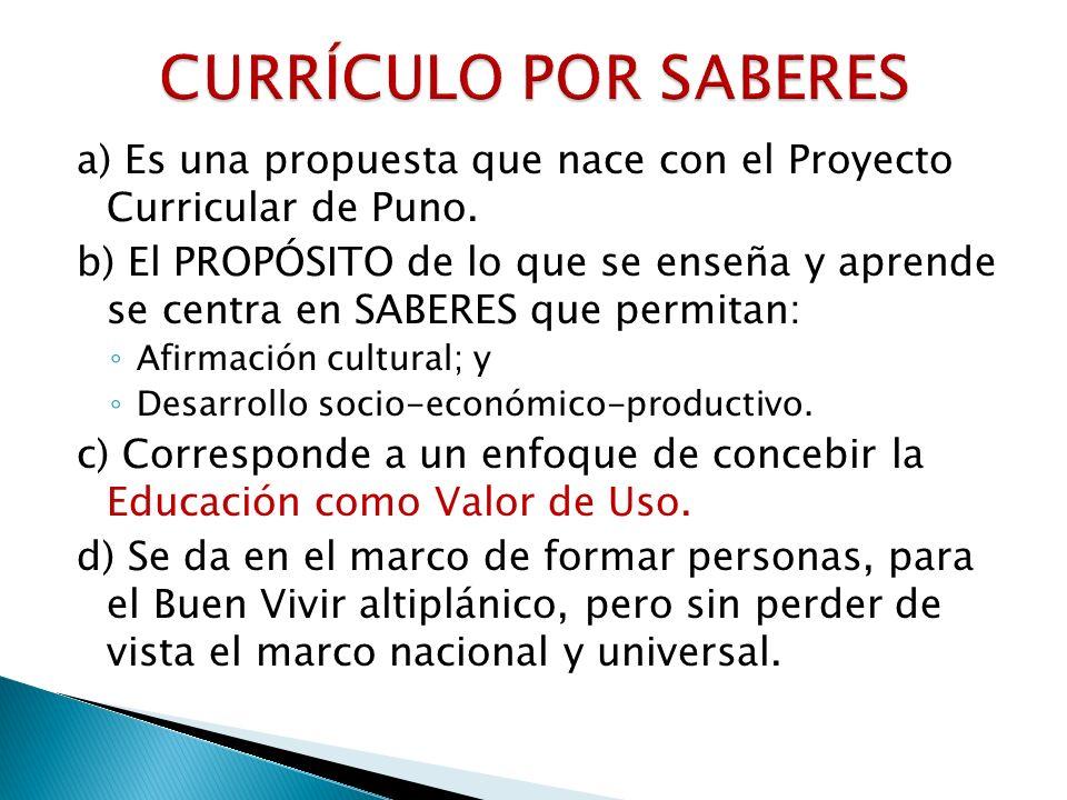 CURRÍCULO POR SABERES a) Es una propuesta que nace con el Proyecto Curricular de Puno.