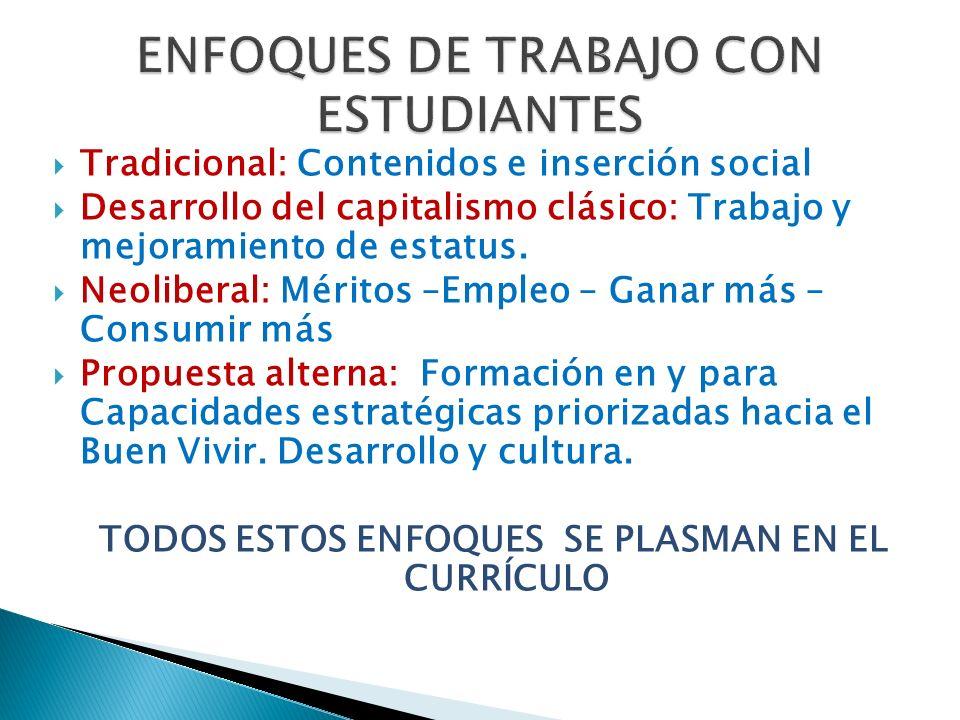 ENFOQUES DE TRABAJO CON ESTUDIANTES