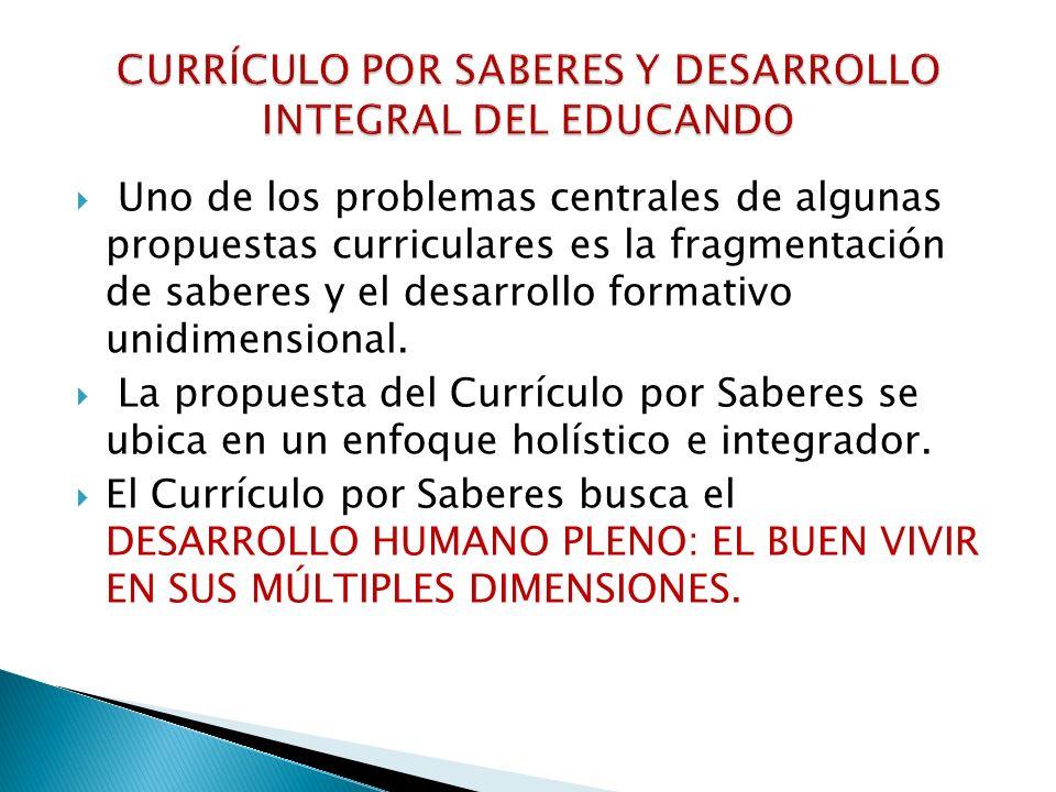 CURRÍCULO POR SABERES Y DESARROLLO INTEGRAL DEL EDUCANDO
