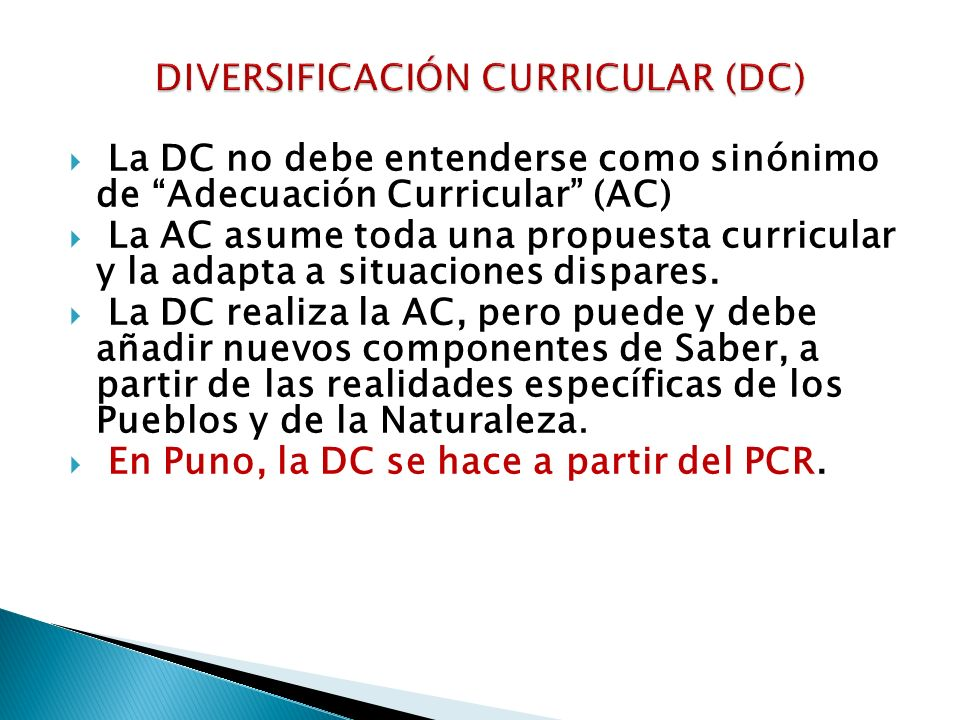 DIVERSIFICACIÓN CURRICULAR (DC)