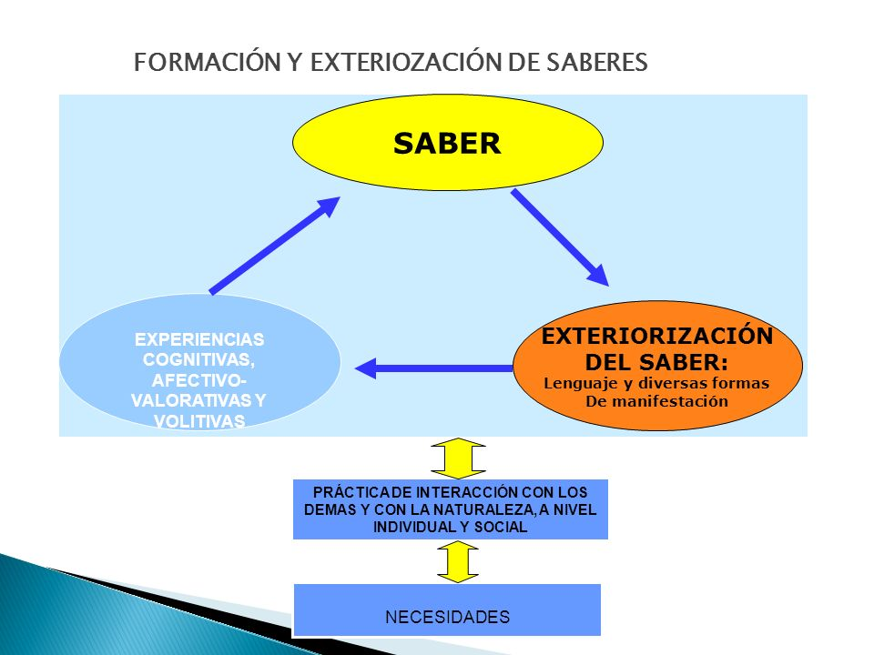 SABER FORMACIÓN Y EXTERIOZACIÓN DE SABERES EXTERIORIZACIÓN DEL SABER: