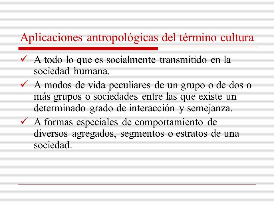 Aplicaciones antropológicas del término cultura