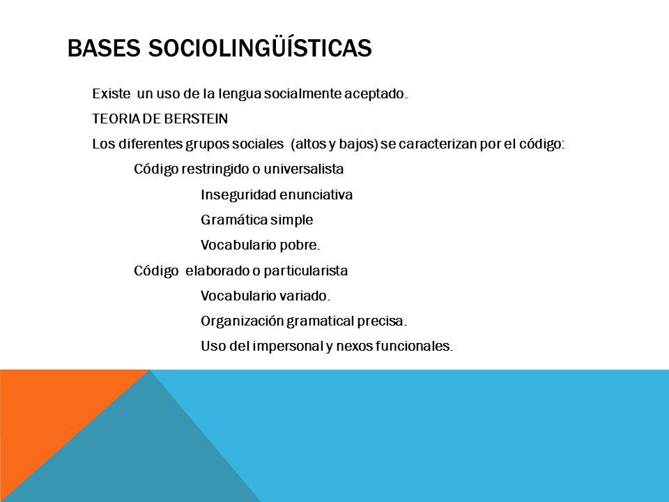 BASES SOCIOLINGÜÍSTICAS