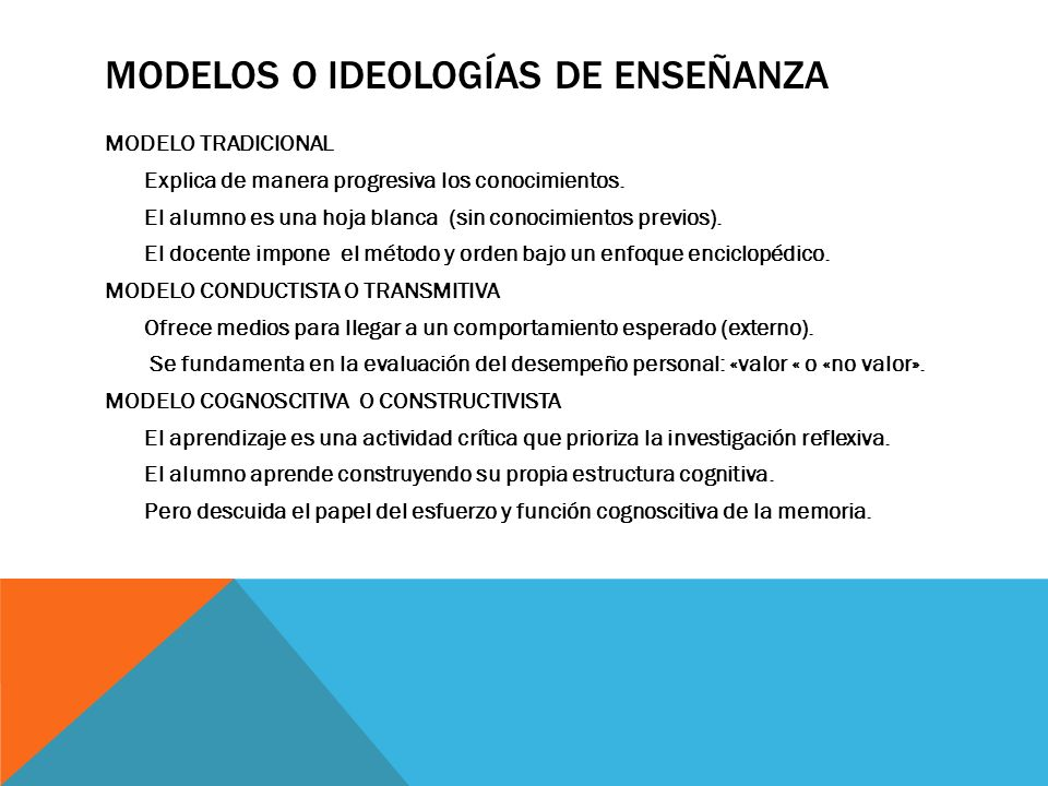Modelos o ideologías de enseñanza