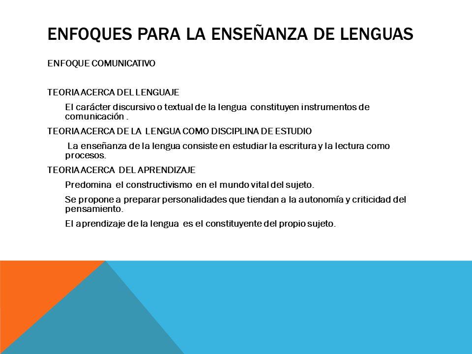 Enfoques para la enseñanza de lenguas