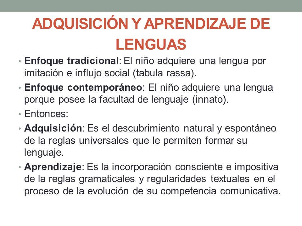 ADQUISICIÓN Y APRENDIZAJE DE LENGUAS