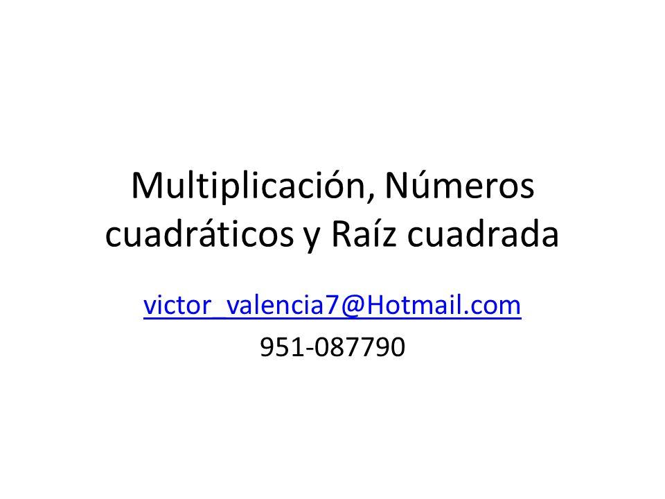 Multiplicación, Números cuadráticos y Raíz cuadrada