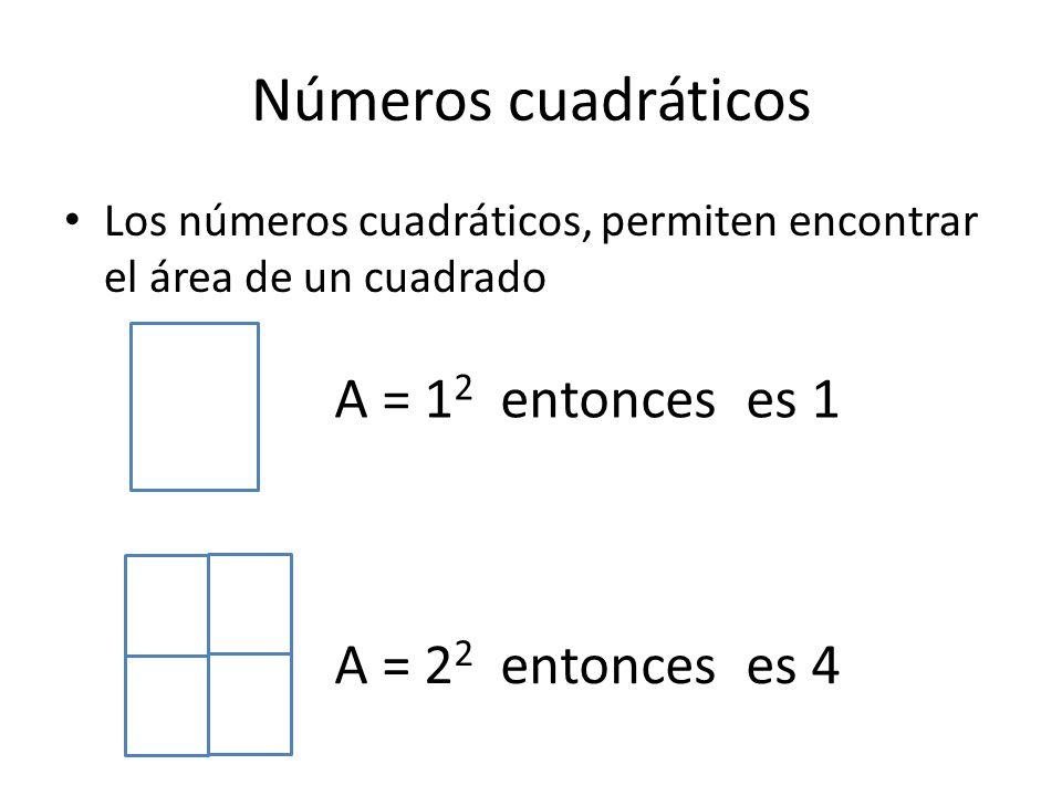 Números cuadráticos A = 12 entonces es 1 A = 22 entonces es 4