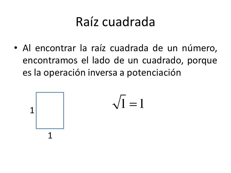 Raíz cuadrada Al encontrar la raíz cuadrada de un número, encontramos el lado de un cuadrado, porque es la operación inversa a potenciación.
