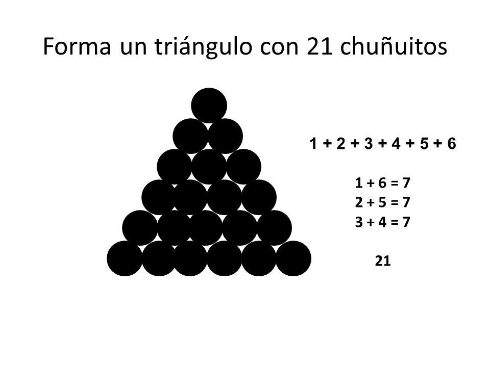 Forma un triángulo con 21 chuñuitos