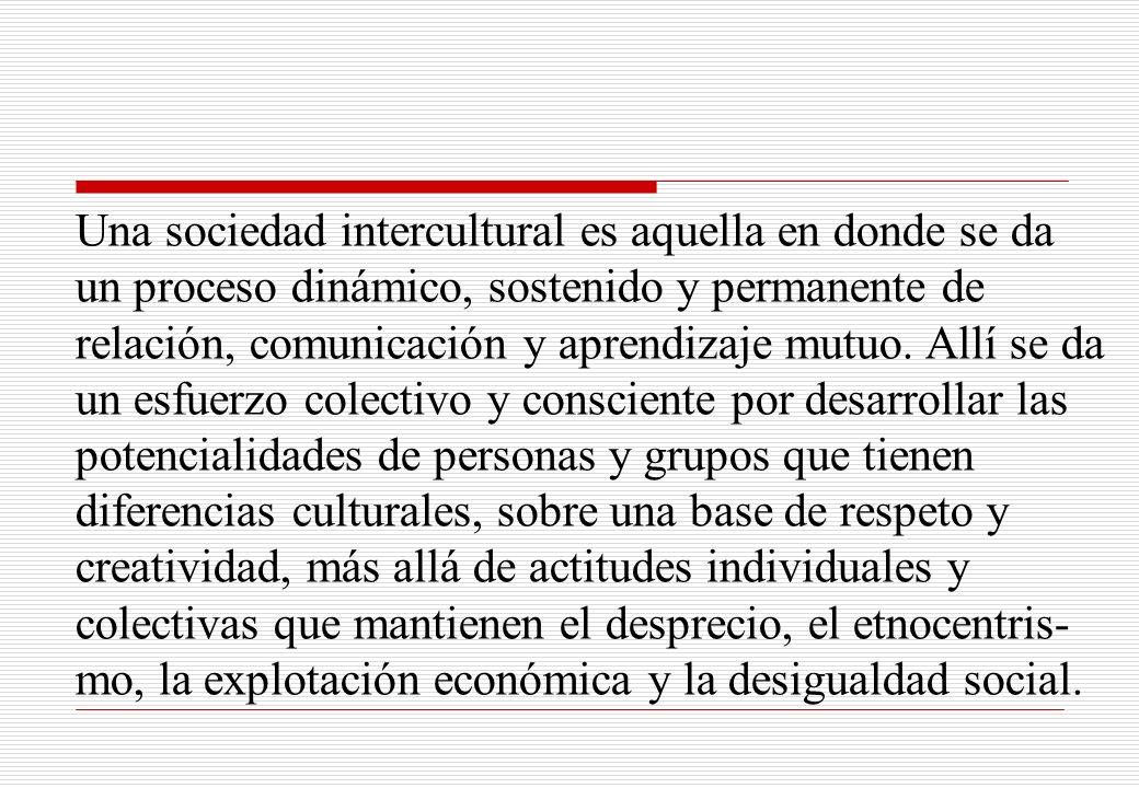 Una sociedad intercultural es aquella en donde se da un proceso dinámico, sostenido y permanente de relación, comunicación y aprendizaje mutuo.