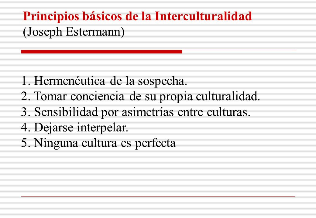 Principios básicos de la Interculturalidad (Joseph Estermann)