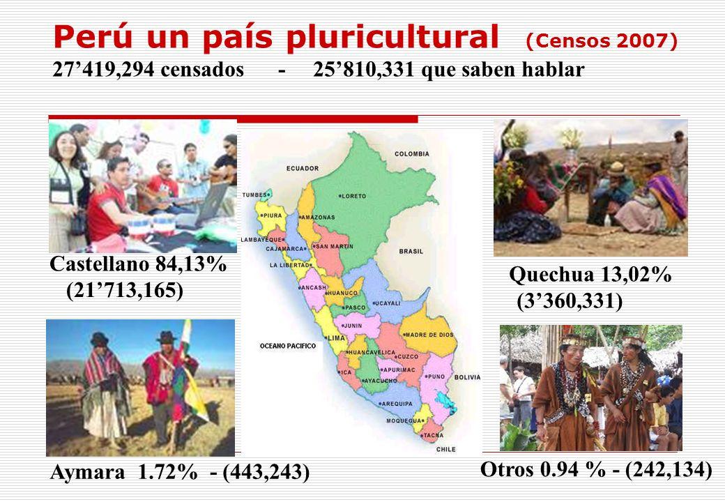 Perú un país pluricultural (Censos 2007) 27'419,294 censados - 25'810,331 que saben hablar
