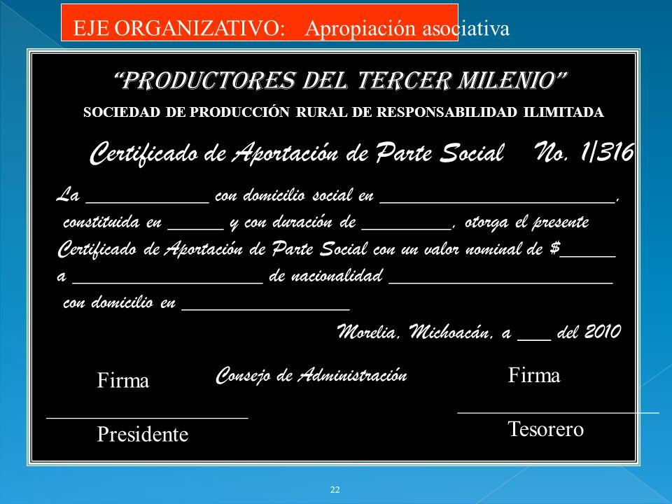 Certificado de Aportación de Parte Social No. 1/316