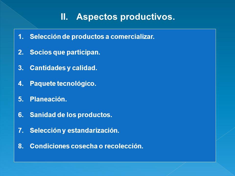 Aspectos productivos. Selección de productos a comercializar.