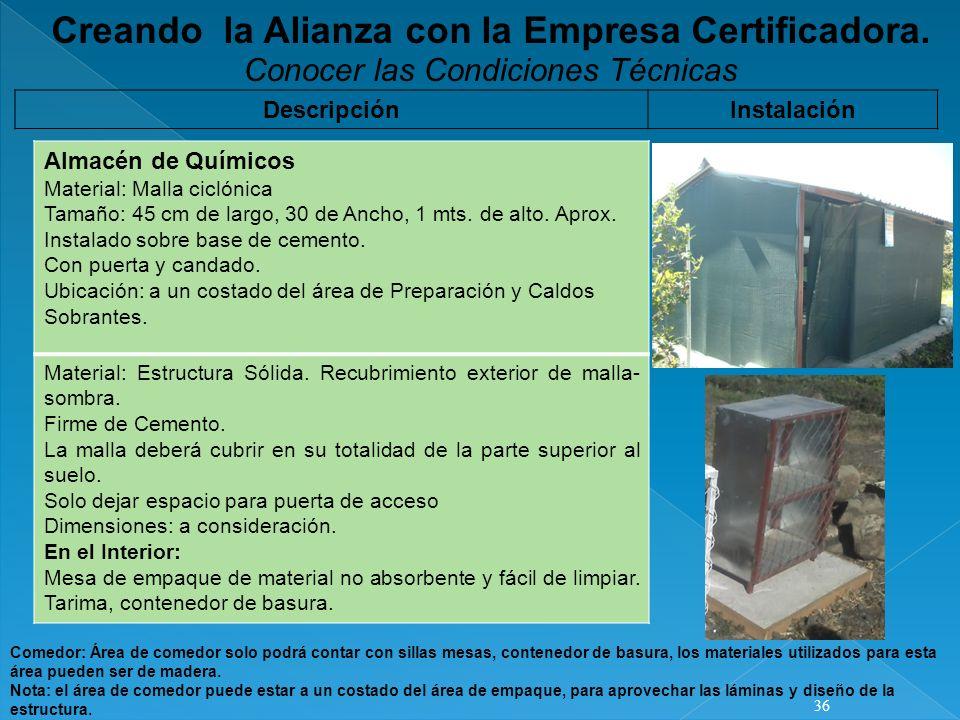 Creando la Alianza con la Empresa Certificadora.